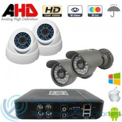 DVR AHD 720p 4ch + 2 Cámaras Interior + 2 Cámaras Exterior