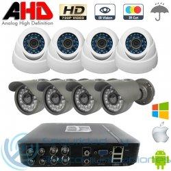 DVR AHD 720p 8ch + 4 Cámaras Interior + 4 Cámaras Exterior