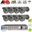 DVR 16ch + 8 Cámaras Exterior AHD 720p