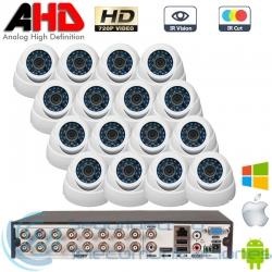 DVR 16ch + 16 Cámaras Interior AHD 720p