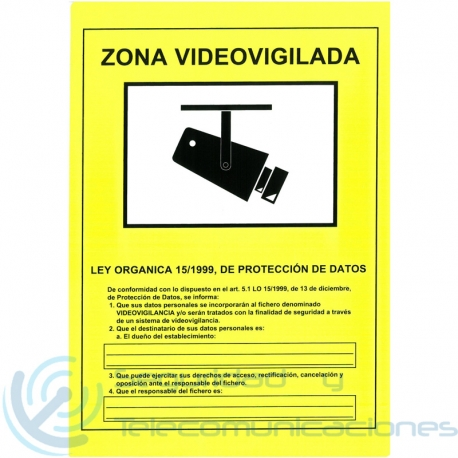 Cartel Zona Videovigilada CCTV