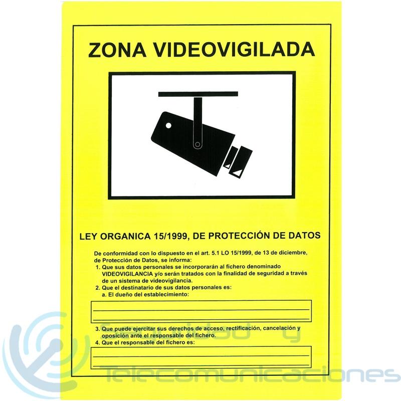 Cartel zona videovigilada cctv homologado - Cartel zona videovigilada ...
