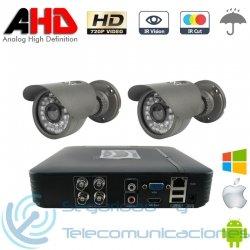 DVR AHD 720p 4ch + 2 Cámaras Exterior