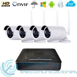 NVR 4ch + 4 Cámaras Exterior HD IP-WiFi