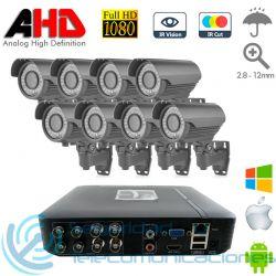 DVR 8ch + 8 Cámaras Exterior Varifocal AHD 1080p